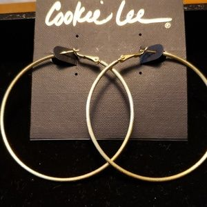 Cookie Lee jewelry. Matt gold tone hoops